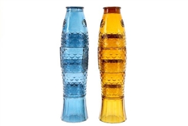 Stackable Coloured Koi Fish Drinking Glasses 32cm 2 Assorted Colours