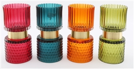 Coloured Glass Tealight Holder 16cm 4 Assorted