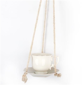 White Ceramic Tea Cup Garden Feeder
