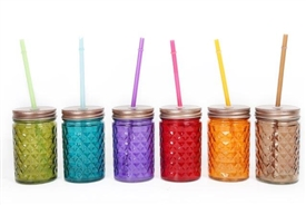Diamond Cut Drinking Jar 6  Assorted