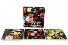 Set Of 6 Wooden Dutch Floral Design Coasters