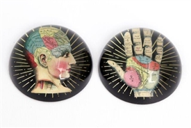 Glass Paperweight with 2 Phrenology Related Assorted Designs