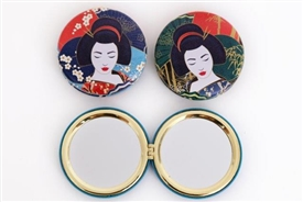 Compact Folding Mirror with 2 Lovely Assorted Geisha Designs