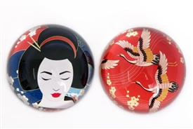 Glass Paperweight with 2 Pretty Geisha Related Assorted Designs