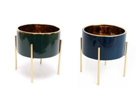 Small Gold Lined Porcelain Planter In 2 Assorted Colours
