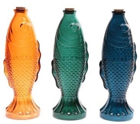 Coloured Tall Glass Koi Fish Shape Bottle With Cork Top 26cm