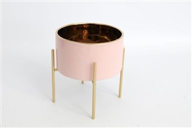 Small Pink and Gold Porcelain Planter