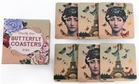 Set Of 6 Wooden Eiffel Tower / Lady Coasters
