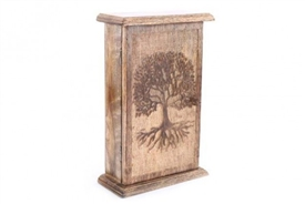 Wooden Key Box With Tree Of Life Design