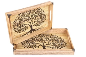 Paulownia Wood Set Of 2 Tree Of Life Trays 45cm