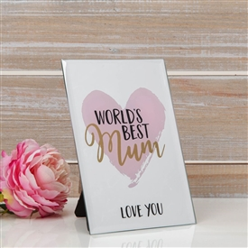 Standing Mirror Plaque Best Mum 15cm