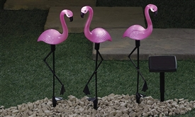 Set Of 3 LED Solar Flamingos