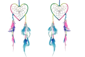 Bright Neon Coloured Heart Dream Catcher