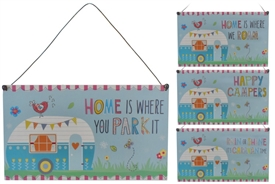 Fun Happy Caravaning Wooden Plaque 4 Assorted Priced Individually 18cm