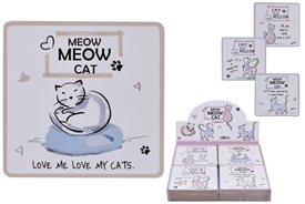 Cat Coasters 4 Assorted (SOLD IN 4's)