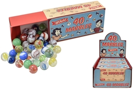 Retro Box Of 40 Coloured Glass Marbles