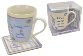 Beach Hut Mug & Coaster Set 2 Asst
