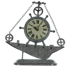 Rustic Ships Wheel Mantel Clock
