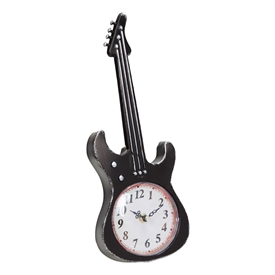Black Guitar Mantel Clock