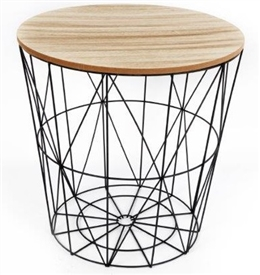 Round Side Table With Wooden Top 40cm