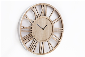 Silver And Wooden Wall Clock 40cm