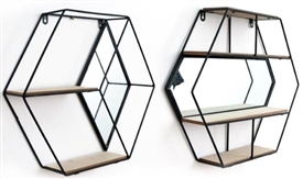 Black Hexagon Metal Wall Unit With Mirror 2 Assorted 46cm