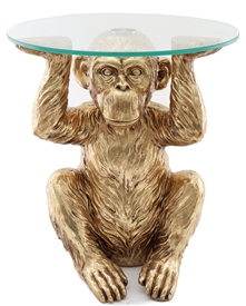 Large Bronze Chimp Table 49cm