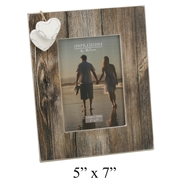 Distressed Wood Frame With Hanging Hearts 5x7""