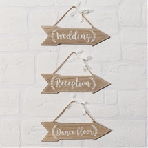 Love Story Set Of 3 Wedding Arrow Plaques