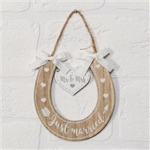 Love Story Just Married Horseshoe Plaque 13cm