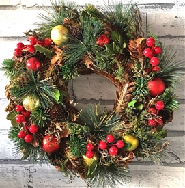 Traditional Bauble Wreath in Red Box 36cm