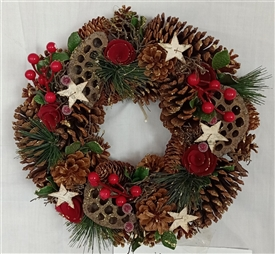Traditional Pinecone Wreath in Red Box 35cm