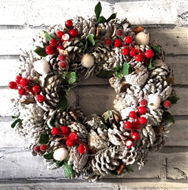 White Pinecone Wreath in Red Box 35cm