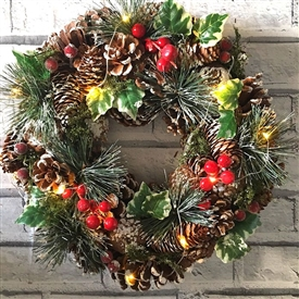 LED Ivy & Pinecone Wreath in Red Box 35cm