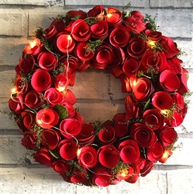 LED Red Flowers Wreath in Red Box 35cm