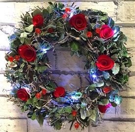 LED Frosted Rose Wreath in Red Box 35cm
