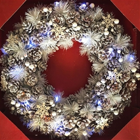 Large LED White Wonderland Wreath in Red Box 48cm