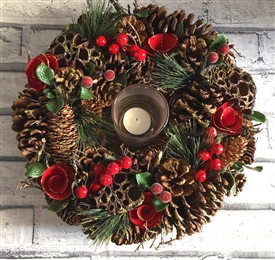 Traditional Pinecone Candle Wreath 35cm