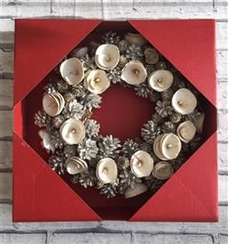 White Pinecone & Rose Wreath 36cm