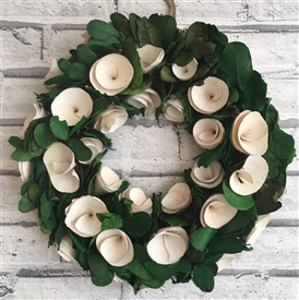 Cream Rose & Foliage Wreath 36cm