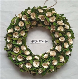 Cream Rose & Foliage Wreath 48cm