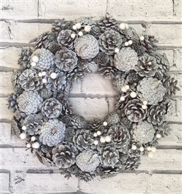Silver Pinecone Wreath 36cm