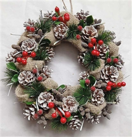 Hessian Wrap Pinecone & Berry Wreath 36cm