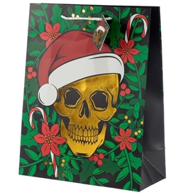 Large Christmas Skull Gift Bag 33cm