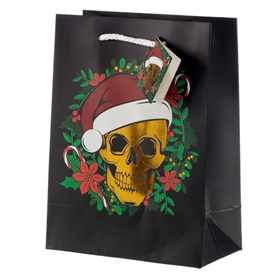 Medium Christmas Skull Gift Bag 23cm