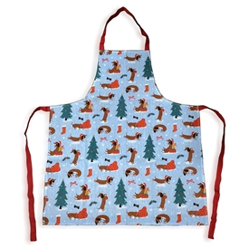 Poly Cotton Apron � Christmas Dachshund Through the Snow