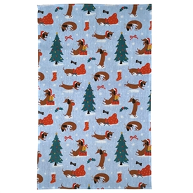 Poly Cotton Tea Towel � Christmas Dachshund Through the Snow