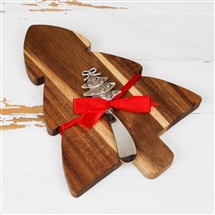 Christmas Tree Wooden Cheeseboard with Knife