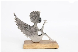 Silver Angel On Wooden Base