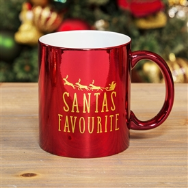 Santa's Favourite Red And Gold Electroplated Mug